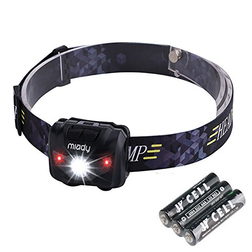 Miady LED Headlamps, 160 Lumen CREE LED + Red Light, Waterproof, Lightweight, AAA Batteries Included