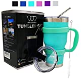 30 oz Tumbler - 6 Piece Stainless Steel Insulated Water & Coffee Cup Tumbler with Straw, 2 Lids, Handle - 18/8 Double Vacuum Insulated Travel Flask (Seafoam, 30oz)