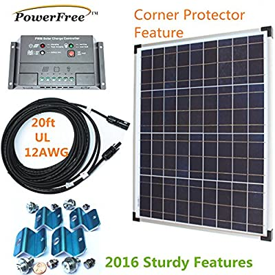 50w Plug-n-Power SuperBlack Solar Panel Charging Kit for 12v Off Grid Battery next day from U.S.