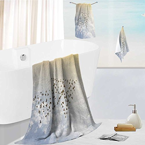 UHOO2018 3 Bath Towels New Style Cotton Printing crowd of birds flying on sky growth development success business concept nature art abstract Soft Cotton Like Bath Towel Sets
