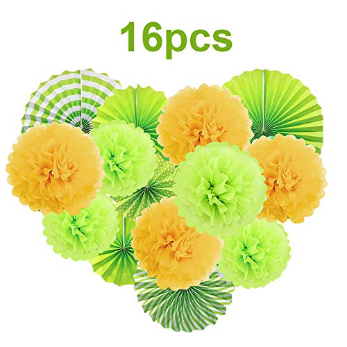 GAYISIC Green Yellow Paper Folding Fans Decorative Pom Poms Flowers Garlands Jungle Dinosaur Theme Fiesta Party Supplies 16 PCS for Kids Birthday Forest Style Backdrops Hanging Decoration