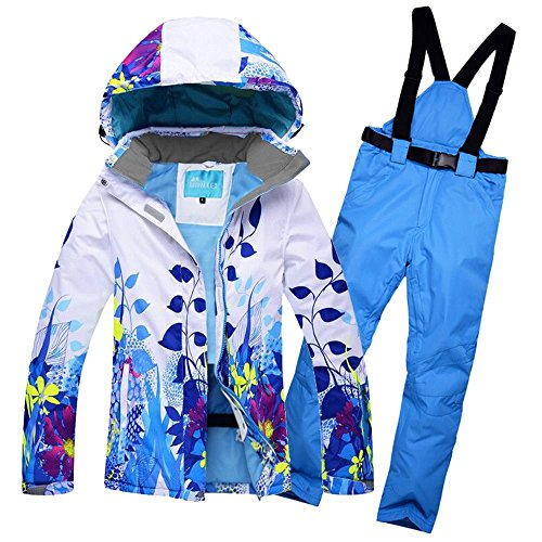 f1e75f4b88 RIVIYELE Women s Waterproof Snowboard Colorful Ski Jacket and Pants Set