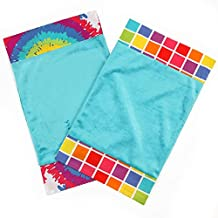 One Grace Place Terrific Tie Dye Burp Cloth, Aqua Blue, Royal Blue, Purple, Yellow, Green, Orange, Pink, Red and White