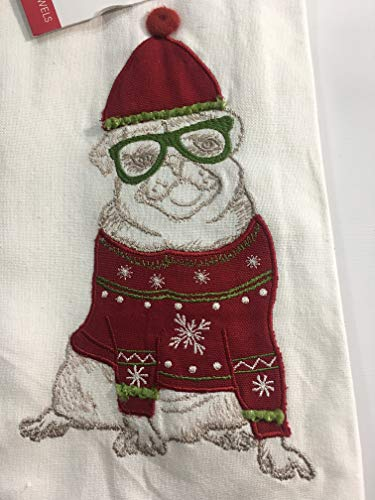 Rowley Holiday Christmas Pug Dog in Glasses & Snowflake Sweater Pom Pom Hat Embroidered Puggle - Set of Two Kitchen Dish Towels