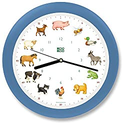 KOOKOO KidsWorld sky-blue, genuine wall clock with natural sounds, 12 farm animals, illustrations by Monika Neubacher-Fesser, large 34cm/13,4in clock with light sensor