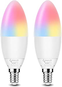 LOHAS Candelabra LED Bulb E12 Base Smart Bulbs, Dimmable Color Changing WiFi Lights, RGB &Daylight Warm White Ceiling Fan Light, 5W(40W Equivalent) 450LM Compatible with Alexa Google Home Siri, 2 Pack