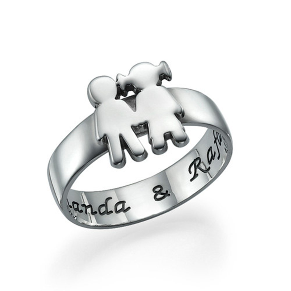 Jumping Birthstone Personalized Message Ring Sterling Silver Engraved Name Rings Kids Holding Hands Ring Best Gift(rose-gold 9)