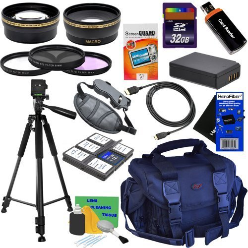 20pc Bundle 32GB Deluxe Accessory Kit w/ HD Wide Angle & HD Telephoto Lenses + 3pc Filter Kit + LP-E10 Battery Pack + HeroFiber Ultra Gentle Cleaning Cloth and more... for Canon EOS Rebel T3 (1100D, KISS X50) Digital SLR Camera by HeroFiber