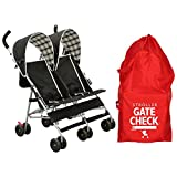 Delta Lightweight Compact Side by Side Twin Umbrella Stroller with Double Stroller Airport Gate Check Bag for Airplane Flight