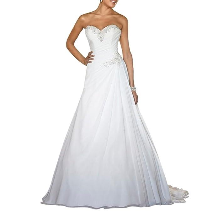 XUYUDITA Mujeres Sweetheart con Plisado Vestido de Novia de Playa Vestido Largo de la Boda Blanco