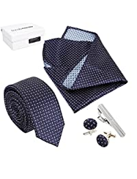 Bundle Monster Mens Fashion Necktie Cufflinks Tie Bar Pocket Square Combo-Set 6
