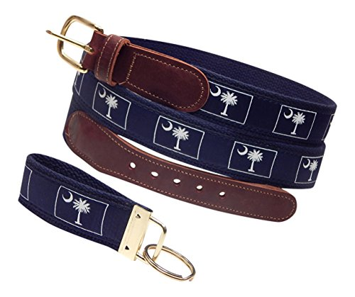 "Preston Leather ""Palmetto Tree and Moon"" Belt, Navy, Sizes 30 to 50, FREE Matching Key Ring (Size 38) ()"