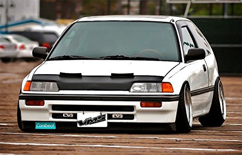 Heavy Duty Front Mask - VMS Racing 88-91 HONDA Civic and CRX HOOD BRA Front End Mask in BLACK for EF9 88 89 90 91 1988 1989 1990 1991