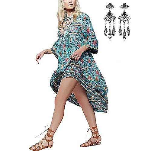 MODETREND Mujer Elegante Vestido Retro Boho Largo de Florales Impresa Vestidos Playa Vacaciones Talla Grande Azul S