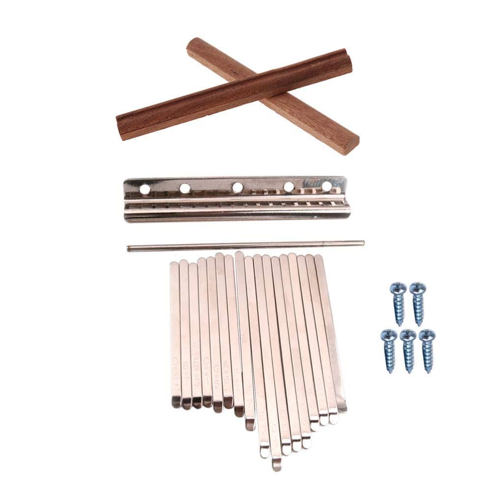 B Blesiya DIY Kalimba Steel Keys+Wooden Bridge Replacement for 17 Key Marimba Thumb Piano Finger Percussion