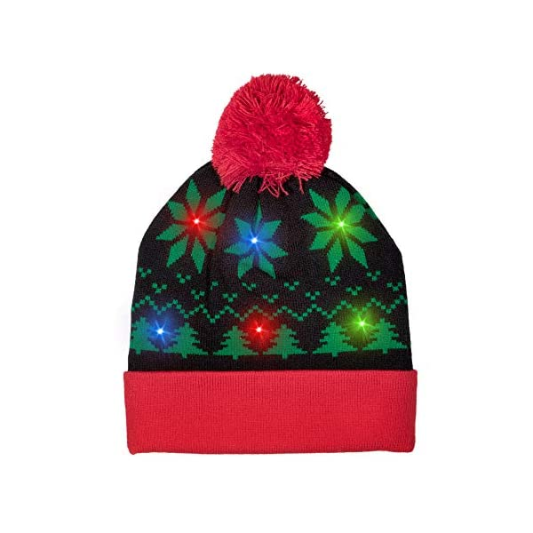 LED Light-up Knitted Ugly Sweater Holiday Xmas Christmas Tree Beanies Light up Christmas Bulb Necklace