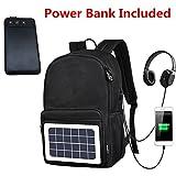 Laptop Backpack Fits 17'', Solar Travel Backpack Men Women| Water Proof Anti Theft Backpack USB Charging &Headphone Port,Slim Business Backpack Power Bank