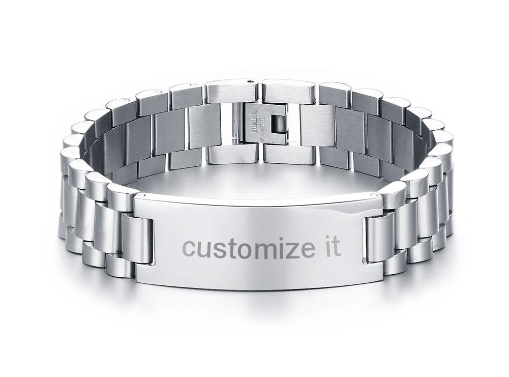 PJ Jewelry Personalized Engrave Men's Stainless Steel Chain Classic Watch Band ID Tag Identification Bracelets, Silver