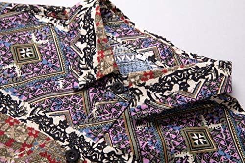 メンズハワイアンプリント半袖ボタンダウンカジュアルシャツ