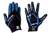 EliteTek RG-14 Football Gloves Youth and Adult (Blue, Youth XS)
