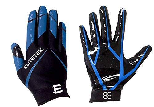 EliteTek RG-14 Football Gloves Youth and Adult (Blue, Youth M)