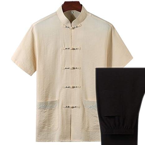 AGWa Traje chino de algodón y lino Tang Camisa de manga ...
