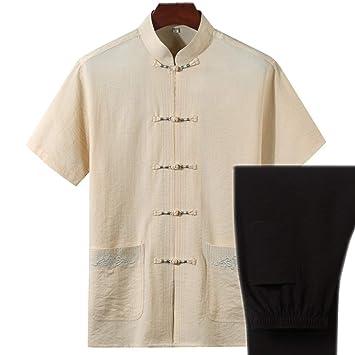 AGWa Traje chino de algodón y lino Tang Camisa de manga corta para ...