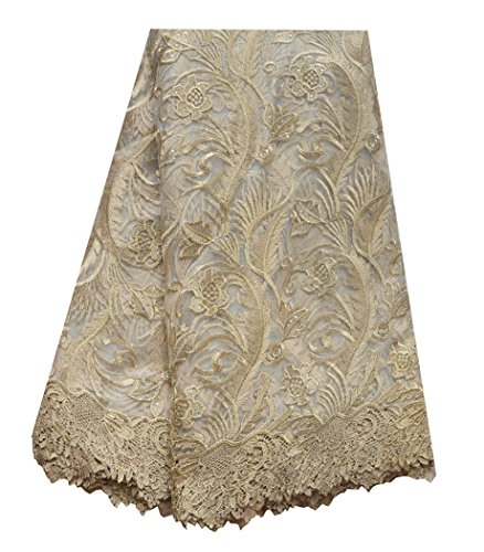 SanVera17 African Lace Net Fabrics Nigerian French Fabric Embroidered and Beading Guipure Cord Lace for Party Wedding 5 Yards (gold) by SanVera17