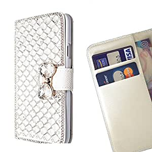 FOR ZTE AXON MINI Clear Bow Bownot Bling Bling PU Leather Waller Holder Rhinestone - - OBBA