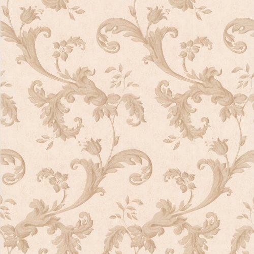 Mirage 990-65037 Isleworth Floral Scroll Wallpaper, Light - Scroll Brown Wallpaper