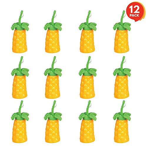 ArtCreativity Palm Tree Plastic Cups Set - Pack of 12-20 oz. Big - Includes Screw-on Sipper - Spectacular Summer Beach Toys and Party Favors - Amazing Gift for Everyone