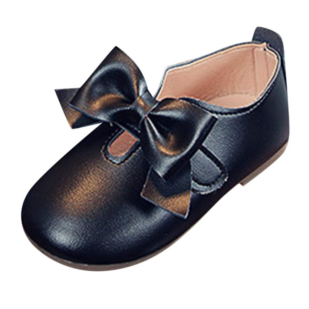 OCEAN-STORE Children Infant Kid Girls 12 Months-6T Solid Leather Bowknot Princess Single Casual Shoes