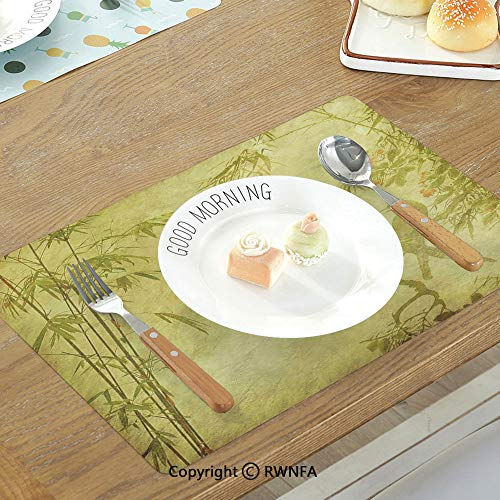 SfeatruMAT Stain Resistant Table Mats Farm House Decor Morning in The Forest Freshness Natural Environment Magical Outdoor Picture Print Non-Slip Heat Resistant Decor Placemat Green Brown
