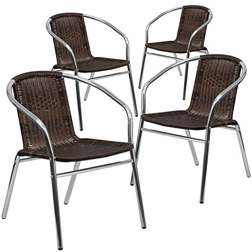 Flash Furniture 4 Pk. Commercial Aluminum and Dark Brown Rattan Indoor-Outdoor Restaurant Stack Chair Patio Furniture Stack Chairs