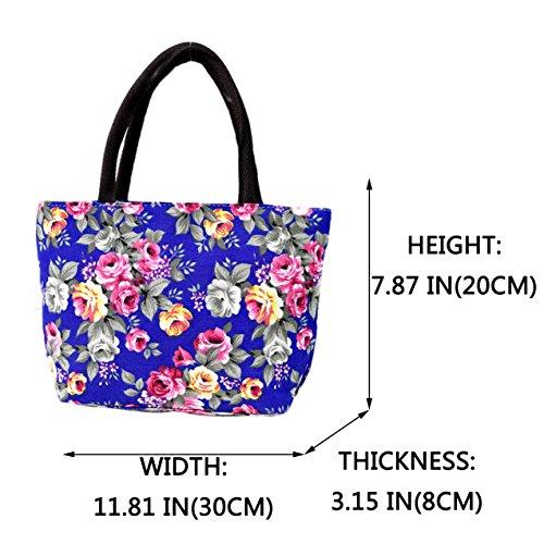 for Blue mom bright durable stylish Canvas grandma flower Skyflying bag Peony coloured hand vqwPOnn8
