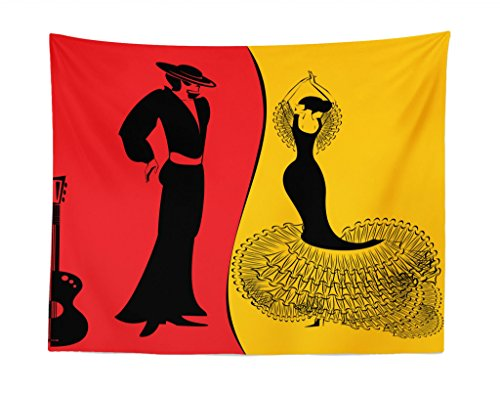 Lunarable Art Tapestry, Spanish Dancer Silhouettes with Man and Woman in Traditional Clothing, Fabric Wall Hanging Decor for Bedroom Living Room Dorm, 28 W X 23 L inches, Marigold Vermilion -
