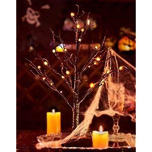 Tabletop Black Spooky Tree Glittered with Orange Lights
