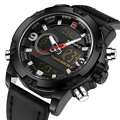 Zeiger New Mens Analog Digital Sport Military Watch LED Dual Time Display Casual Black Stainless Steel/ Leather Watches for Men