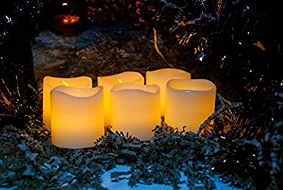 Flameless Candles, Battery Operated - 6 Unscented Electric Candles, Votive Style, with Flickering Led - Romantic Centerpieces Decorations for Wedding - Real Wax and Dripless - Ambience your home now !