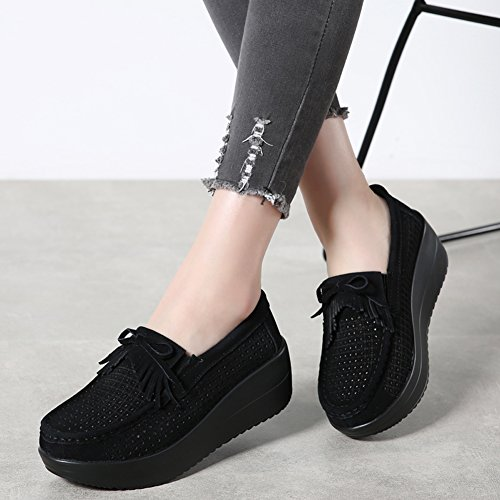 Women Shoes 2 288 Work Black Slip On Tassel Black Wedges Moccasins STQ Fringe Sole Platform Suede Loafers Comfort d76dqpw