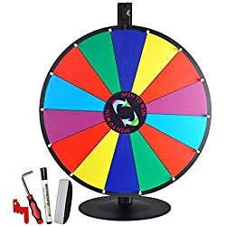 "24"" Tabletop Color Dry Erase Spinning Prize Wheel 14 Slot w/ Aluminum Stand DIY Customize Template for Fortune Tradeshow Desk Top Casino Style Drawing Game"