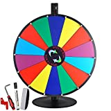 24'' Tabletop Color Dry Erase Spinning Prize Wheel 14 Slot w/ Aluminum Stand DIY Customize Template for Fortune Tradeshow Desk Top Casino Style Drawing Game