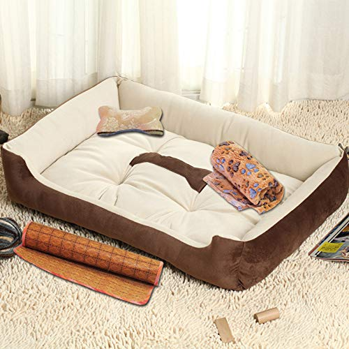 Glashaus Kennel four di pet mat small medium large dog golden Retriever dog supplies bed cat litter winter, super soft beige, 90CM