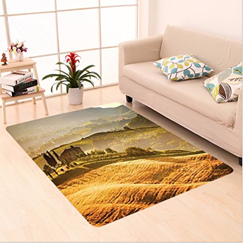 Nalahome Custom carpet iena Tuscany Vineyard Retro Farmhouse Cypress Trees and Sunset Picture Accessories Mustard Green area rugs for Living Dining Room Bedroom Hallway Office Carpet (5' X (Vineyard Brown Area Rug)
