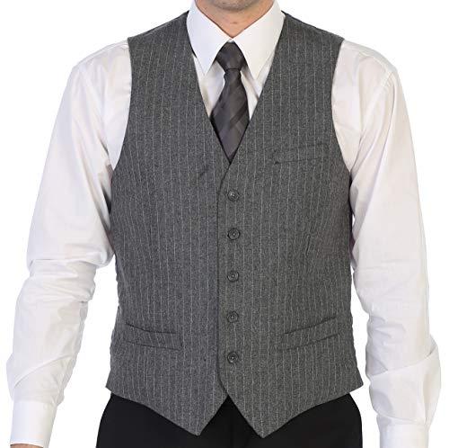 Gioberti Men's 5 Button Formal Tweed Pin Stripe Vest, Gray, Large