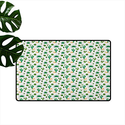 """RenteriaDecor Southwestern,Heavy Duty Doormat Cactus Pattern with Agave Saguaro Prickly Pear Succulent Plants and Tumbleweed 24""""x35"""",Outdoor Rubber mats"""