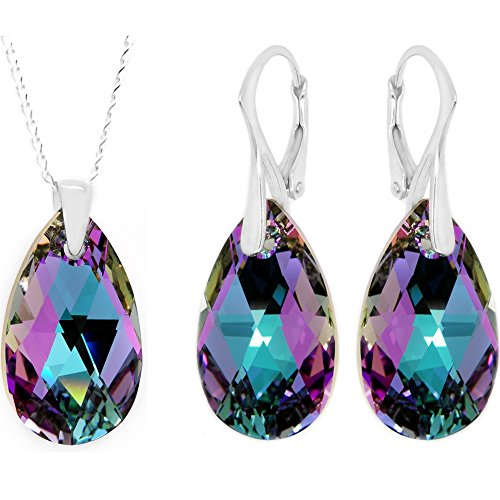 Royal Crystals Made with Swarovski Crystals Pink Blue Sterling Silver Pendant Necklace Earrings Set,18