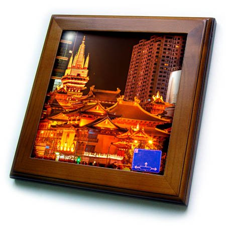 Rooftop Framed (3dRose Danita Delimont - Temples - Golden Temples Roof Top, Jing An Tranquility Temple, Shanghai, China - 8x8 Framed Tile (ft_257121_1))