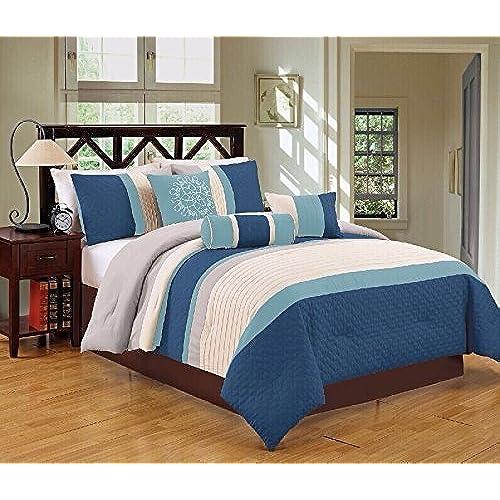 Dovedote Gorman Hills Comforter Set With Maching Curtain Set, Queen, Navy  Blue, 15 Piece