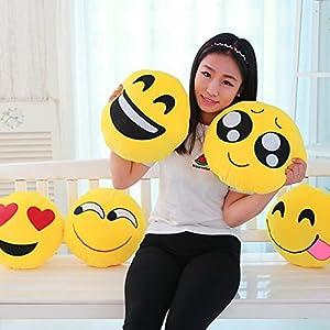 "13.8"" Emoji Eager Emoticon Round Cushion Pillow Stuffed Plush Soft Toy Gift"